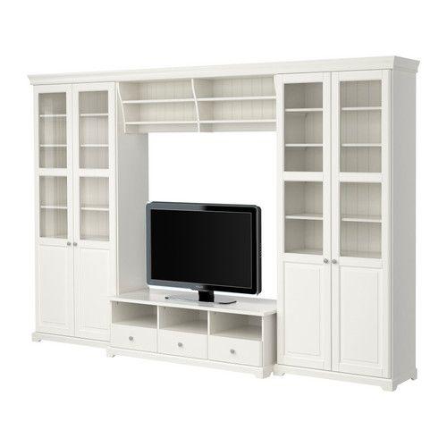 IKEA - LIATORP, Tv-meubel, combi, , De kroonlijst maakt een combinatie van meerdere elementen tot één geheel.Verstelbare poten; staat ook stabiel op ongelijke vloeren.Vitrinedeuren voor het stofvrij maar zichtbaar opbergen van je mooie bezittingen.Soepel lopende lades met blokkeerstukken die de lades op hun plaats houden.Met een opening voor snoeren aan de achterkant houd je alle snoeren netjes bij elkaar.