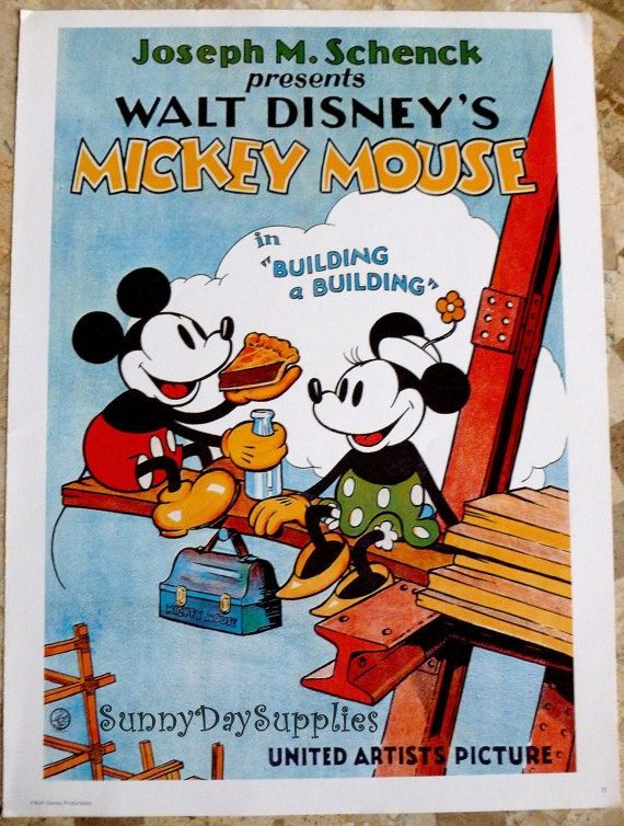 Vintage Disney Poster Micky and Minnie Mouse 1970's  Mint Condition 15 x 11 inches  Walt Disney Productions Poster Mick Mouse  Minnie