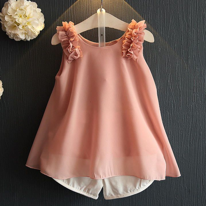 Flower Decorated Two Pieces Chiffon Set  Material: Chiffon Season: Summer Age: 1.5-7 Years Old Outfit Includes: 1 Top, 1 Shorts  #Popreal  #girldress #petal dress #lace dress #princess dress #sweet dress #flower