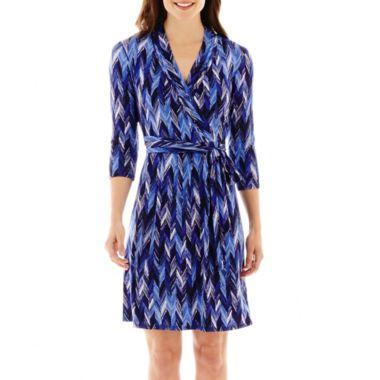 Liz Claiborne 174 3 4 Sleeve Chevron Print Wrap Dress Sh Blue