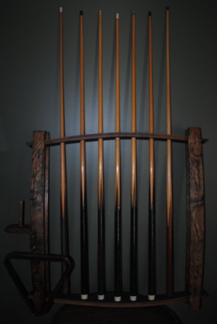 Whiskey Wine Barrel Stave Pool Cue Stick Wall Rack.....Chris needs this!