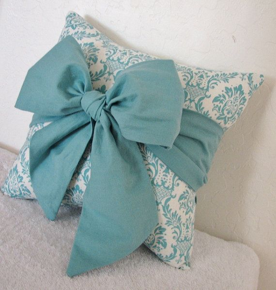 Throw Pillow With Bow : Teal Bow Throw/Accent Pillow by pillowsbycindee Teal, Throw pillows and Love