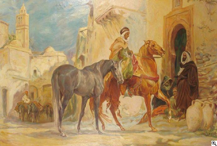 Josef Reusch: Orientalische Straßenszene. Ein Händler vor einer Gruppe von Berbern, ein Pferd feilbietend