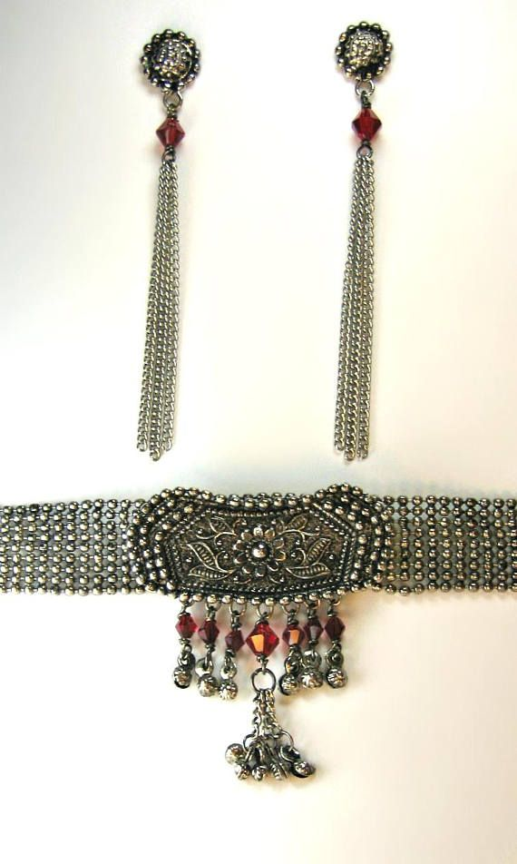 Antique Ethnic Silver Effect Gun Metal Choker Collar Necklace