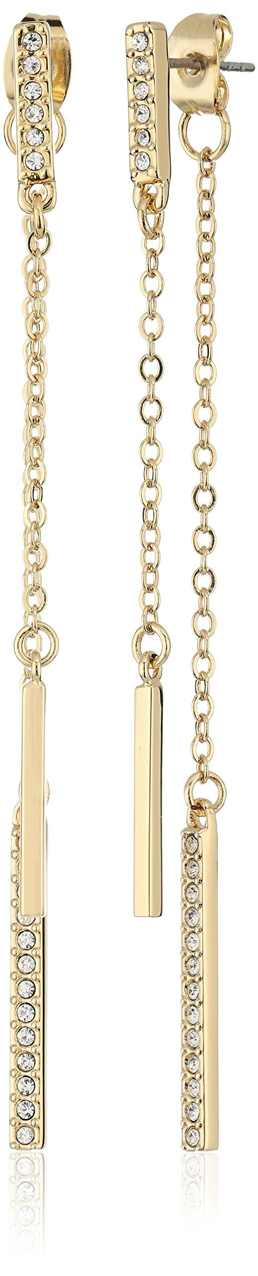 Rebecca Minkoff Pave Bar Front/Back Gold Drop Earrings. Made in China. Gold or Rhodium plated front/back earrings with pave and chain. brass post with butterfly back. Place in pouch when not worn, do not wear in water. Imported.