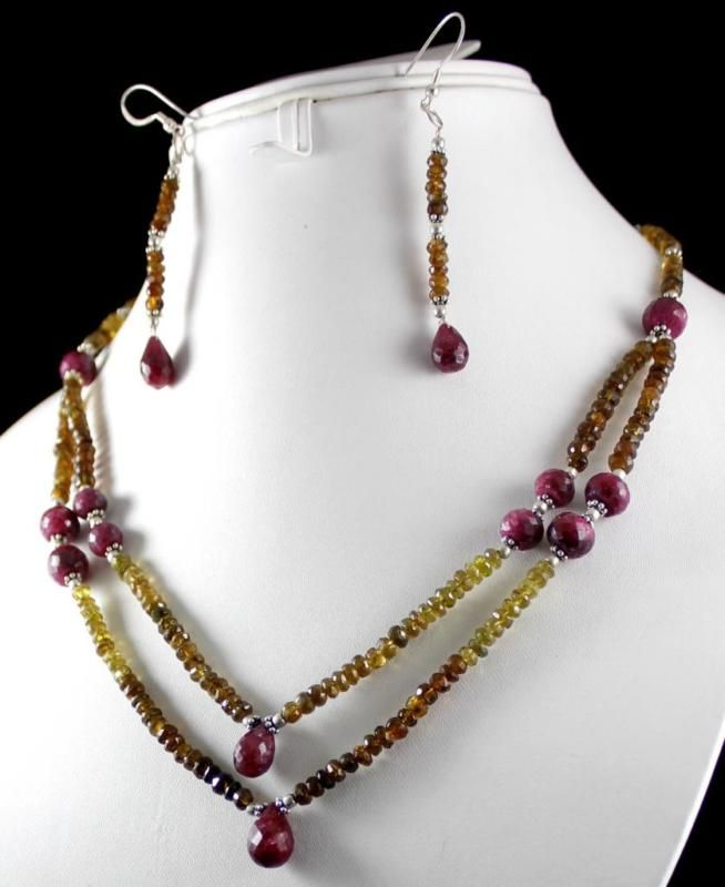 231ct Silver 925 Ruby Yellow Tourmaline Gemstone Jewlery Necklace Earrings Set(kgr231ct),for further details,visit us at www.krishnagemsnj...