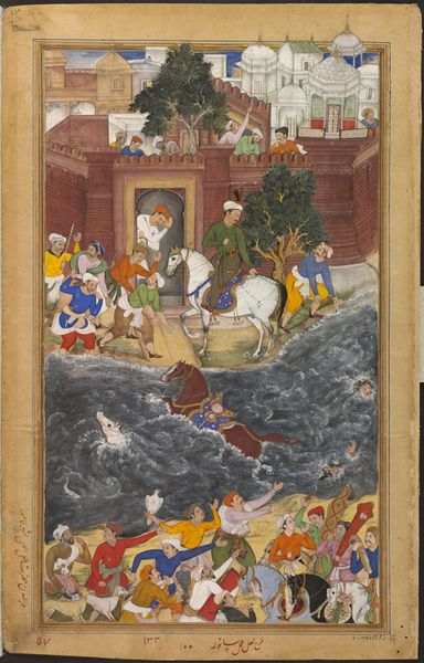 This illustration to the Akbarnama (Book of Akbar) depicts the Mughal emperor Akbar (r.1556–1605) watching two of his men drowning as they attempt to swim with their horses across the Ravi River in the province of Lahore (in present-day Pakistan). The composition was designed by the Mugha court artist La'l, and the details painted by Sanwala.