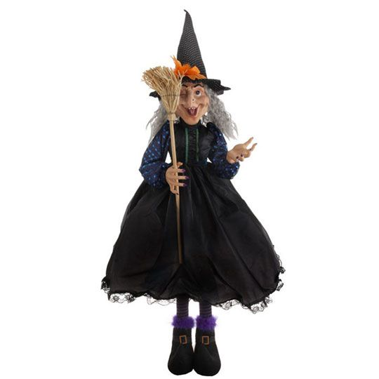 halloween witch decoration 50 inches tall with broom