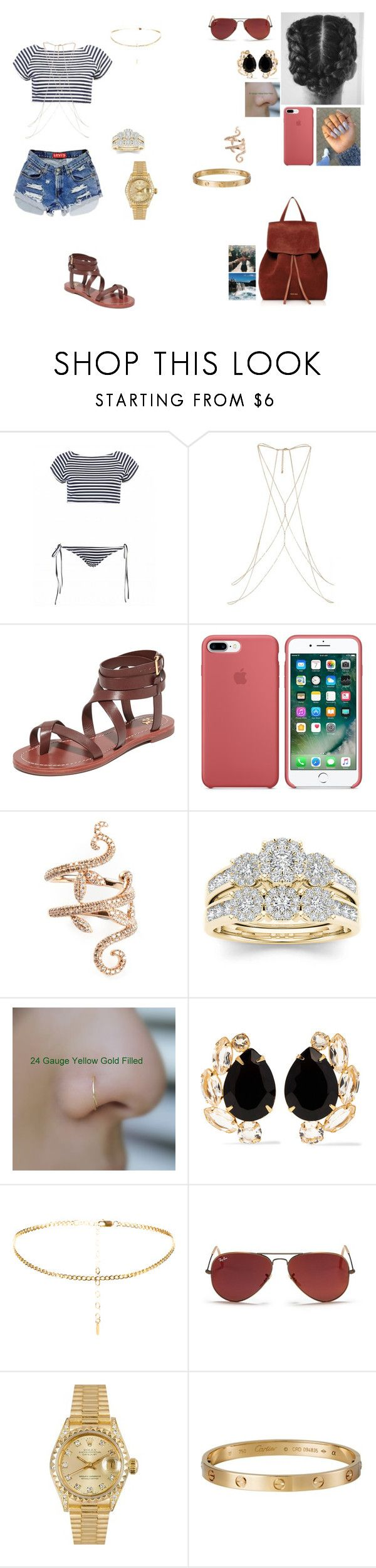 """""""Sally visiting mexico with her friends and her husband."""" by princesscece6 ❤ liked on Polyvore featuring Levi's, River Island, Tory Burch, Elise Dray, Modern Bride, Bounkit, Ray-Ban, Rolex, Cartier and Mansur Gavriel"""