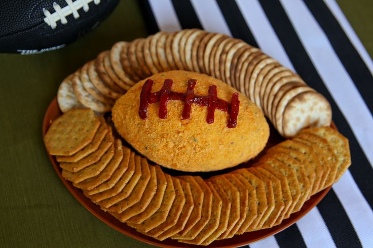 "Game Day Cheese Ball {if you don't have sport's fans your home, you can just form this into a normal ball without the ""laces""}."