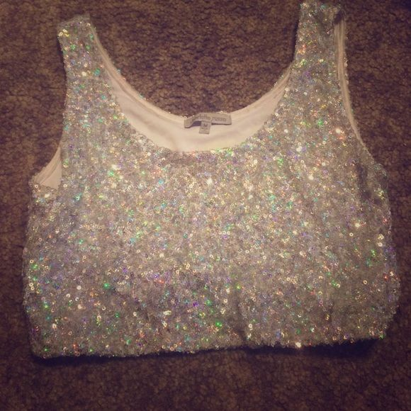 Sparkly crop top Slight wear but in very good condition. Not missing any sequences or anything.  Charlotte Russe Tops Crop Tops