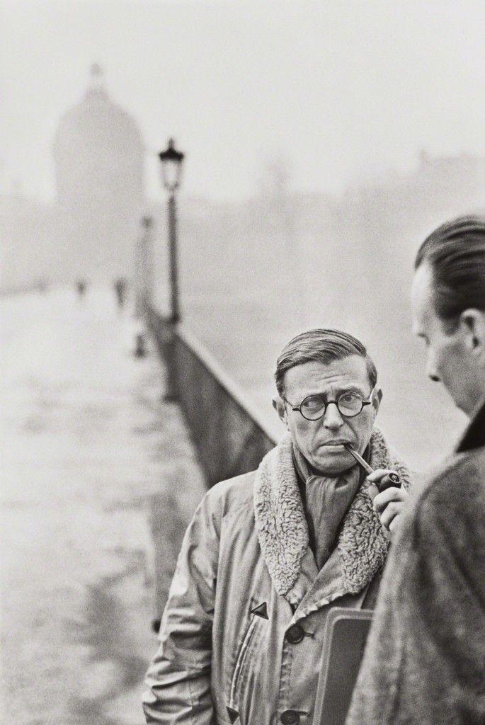 Henri Cartier-Bresson, Jean-Paul Sartre, Le Pont des Arts, Paris, 1946, Phillips