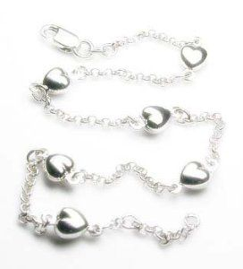 Elegant Rolo with Heart Station Anklet - JewelryWeb JewelryWeb. $431.80. Save 50% Off!