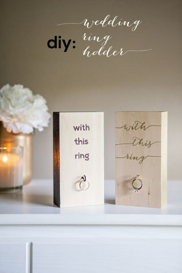 "DIY // Learn how to make these adorable Mr & Mrs  ""Wood Block Wedding Ring Holders""! Free design downloads, easy tips and the best part - it can be completed in under an hour."