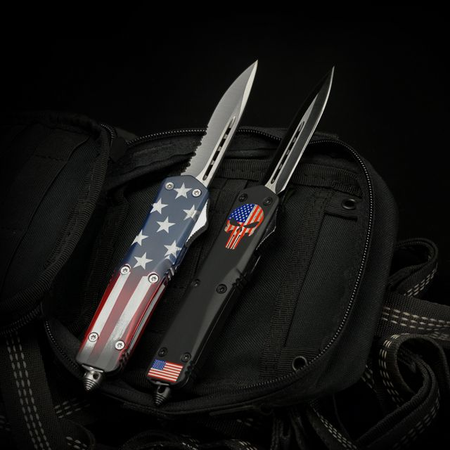 Titan Bravo OTF (Out the front) Knives Color: Old Glory & American