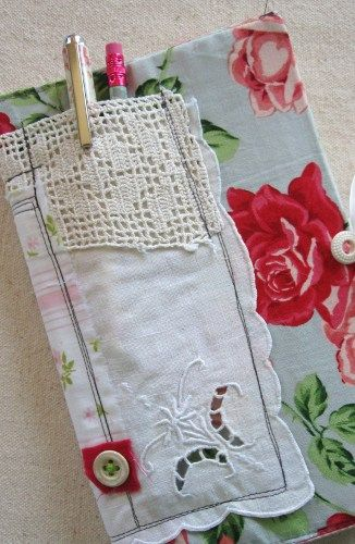 moleskin journal cover...stitched fabric and lace. Love the hanky!