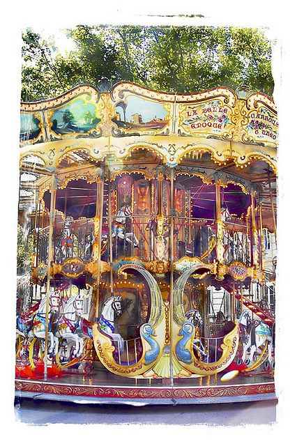 La Belle Epoque Carousel - Avignon, France  Yes , there really is a carousel in the middle of the town and hot chestnuts sold from a cart. Awesome place. I could live here.