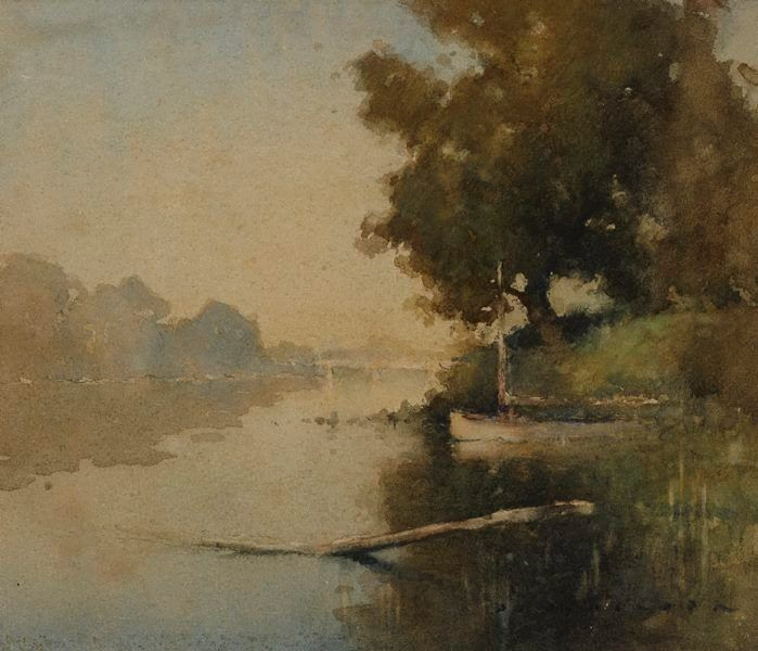 J J Hilder, also known as Jesse Jewhurst Hilder, (Australia 23 Jul 1881–Apr 1916) The White Bridge watercolour  Art Gallery of New South Wales