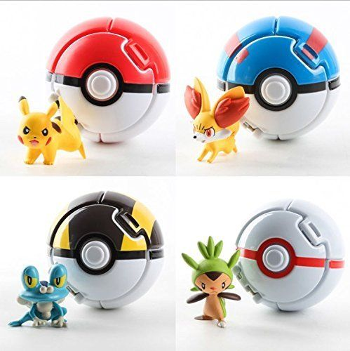 4PCS Bounce Pokemon Pokeball Cosplay Pop-up Elf Go Fighting Poke Ball Toy – Pokemon Toys: Pokemon Poke Ball, Pokeball Master Ball