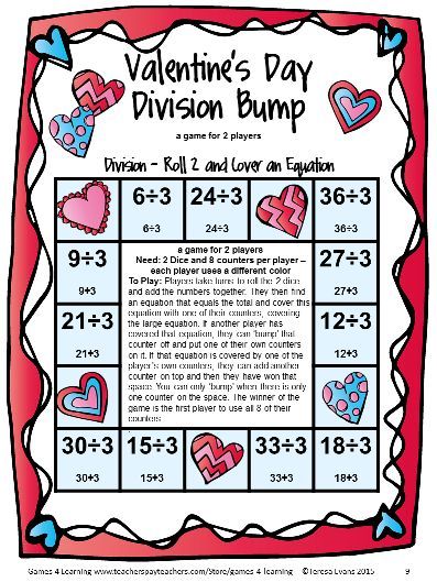 Division Bump Math Game from Valentine's Day Math Games Fourth Grade ...