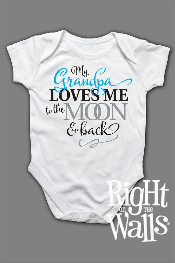 4b2f0b9744 Baby Onesie Grandma or Grandpa Custom to Moon   Back Clothes Short Sleeve  Shirt for Babies Grandfather Grandmother T-Shirt tshirt on Et…
