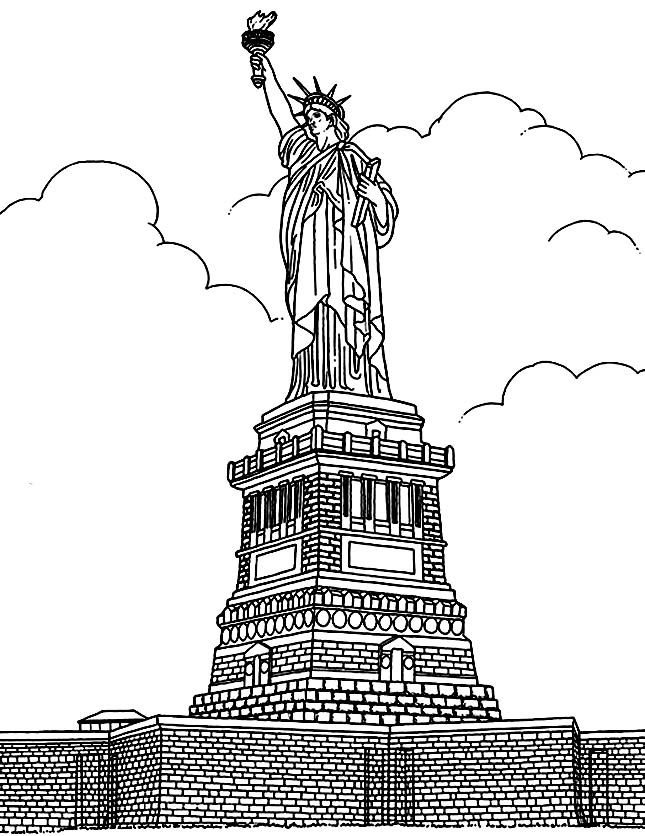 Free coloring page coloring-adult-new-york-statue-liberte. The Statue of Liberty: You can color it for a long time, because there are many difficult details