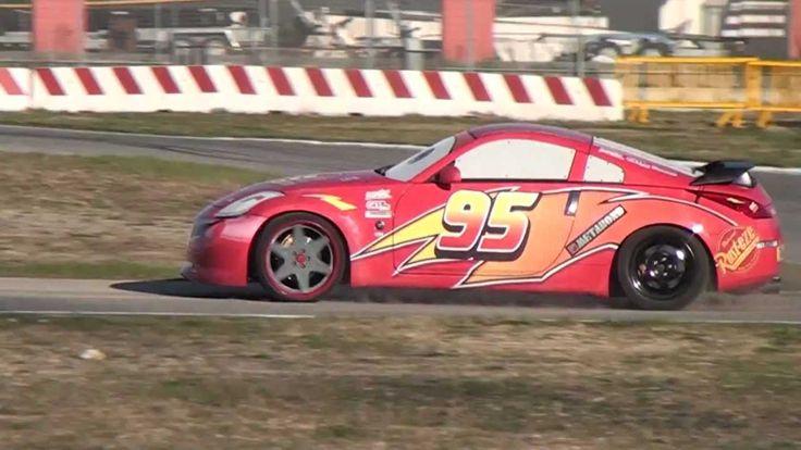 Real Lightning McQueen (Disney Cars Film) Running on Track : Video