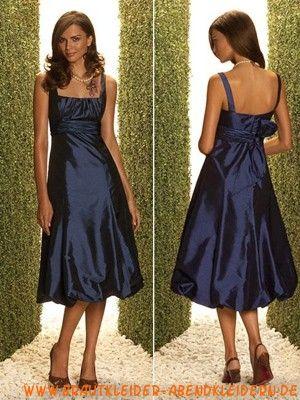 Blaue günstige schlichte Abendkleider aus Taft Abendmode München