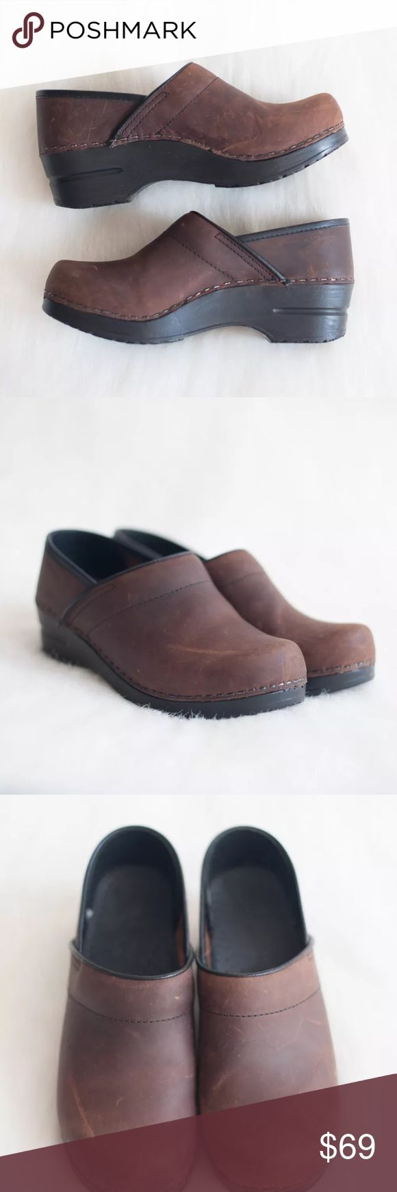 """Dansko Professional Clogs New without box, excellent condition! Size: 36 (5.5 / 6 US). Color: Brown. Retail price: $130.  •Leather and/or fabric uppers  •Padded instep collar for comfort when walking  •Roomy reinforced toe box for protection with plenty of """"wiggle room"""" for your toes  •PU outsole with rocker bottom to propel foot forward and provide shock absorption  •Heel height 2""""  Please refer to Dansko website for fit guide if you're not familiar with the brand. Dansko Shoes…"""