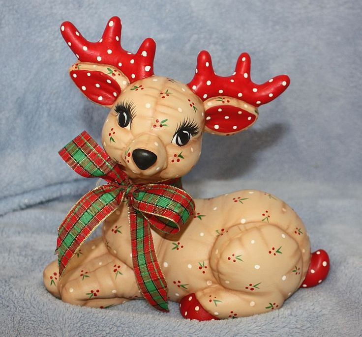 Handpainted Ceramic Christmas Reindeer by FlutterbyConnections, $23.95