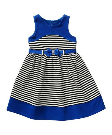 Look what I found on #zulily! Royal Blue Stripe Bow Belted Textured Ponte Dress - Infant #zulilyfinds