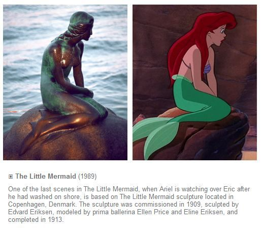 I never caught this: Ariel positioned the same as the statue of the Little Mermaid in Denmark! MouseTalesTravel.com
