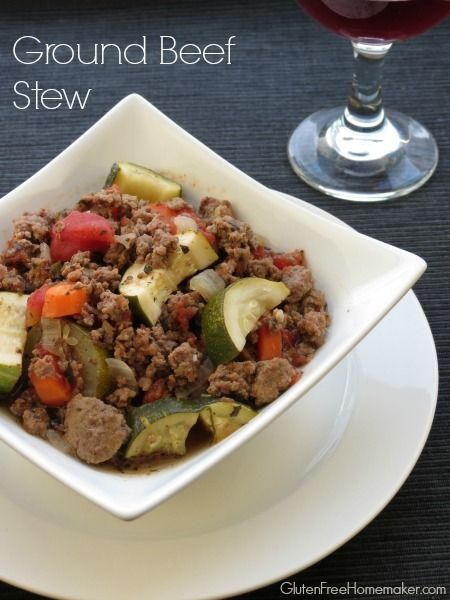 Ground Beef Stew (Slow Cooker) - ground beef, onion, garlic, 2 cans tomatoes, carrots, beef broth, basil, oregano, salt, pepper, zucchini. | The Gluten-Free Homemaker