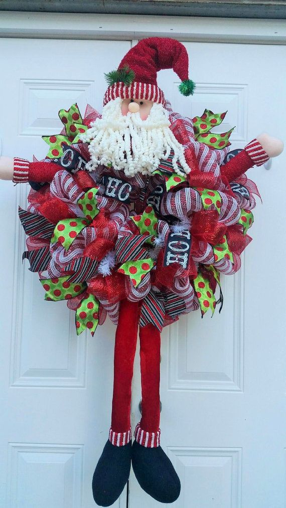 Jolly Old St. Nick -Whimsical Santa Wreath-Large Santa Wreath-Santa Wreath-Deco Mesh Christmas Wreath-Holiday Wreath-Santa Clause Wreath