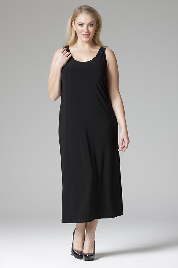 1014X Round Neck Cami Dress - Classic jersey dress with round neck and wide straps. Easy wear, easy care. Mid-calf length.
