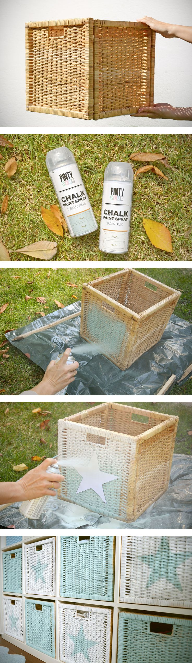 DIY: Cestas pintadas con Chalk paint en spray. Supporting DIY with our spray paint.