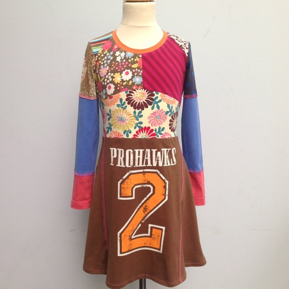 Size 7 yrs up to 9 yrs girls upcycled tshirt dress by dressme