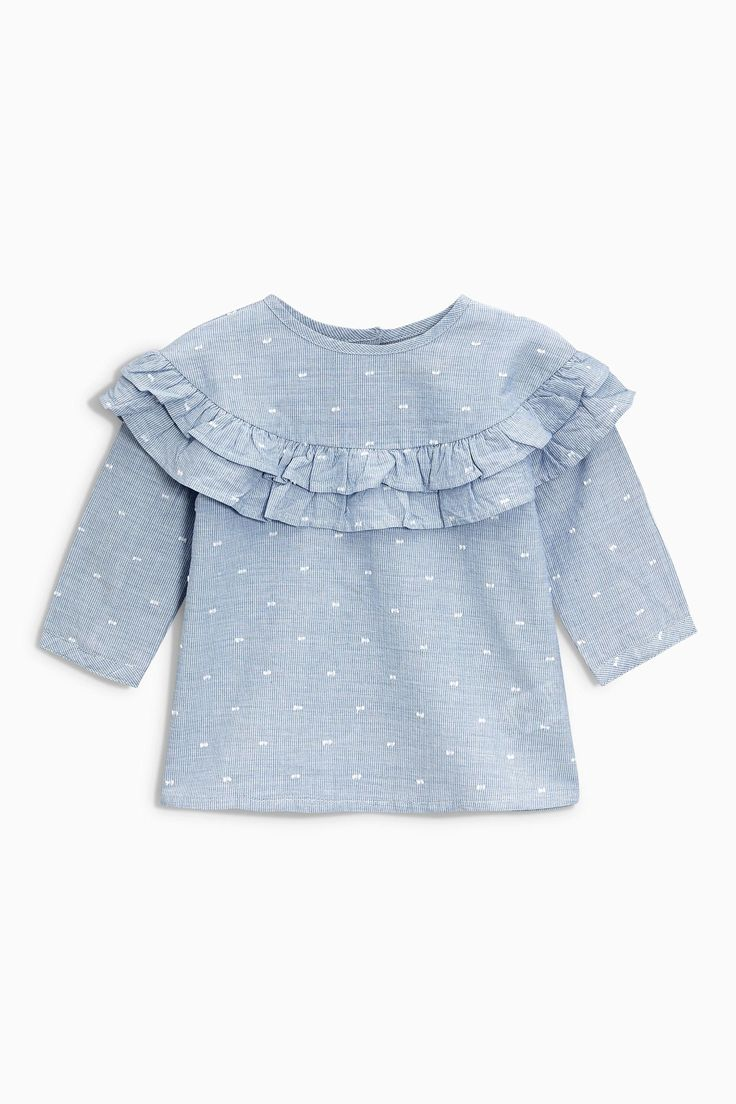 Buy Blue Ruffle Blouse (3mths-6yrs) from Next Netherlands