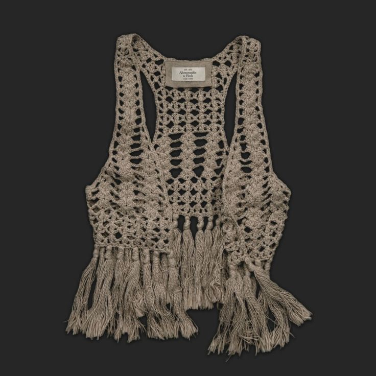 LINDO / Cropped crochet vest with fringe