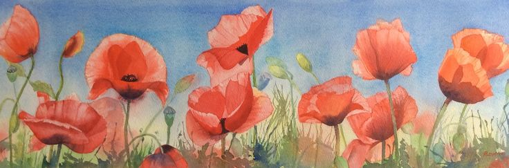 Wild about poppies Watercolour by Heather Plowman