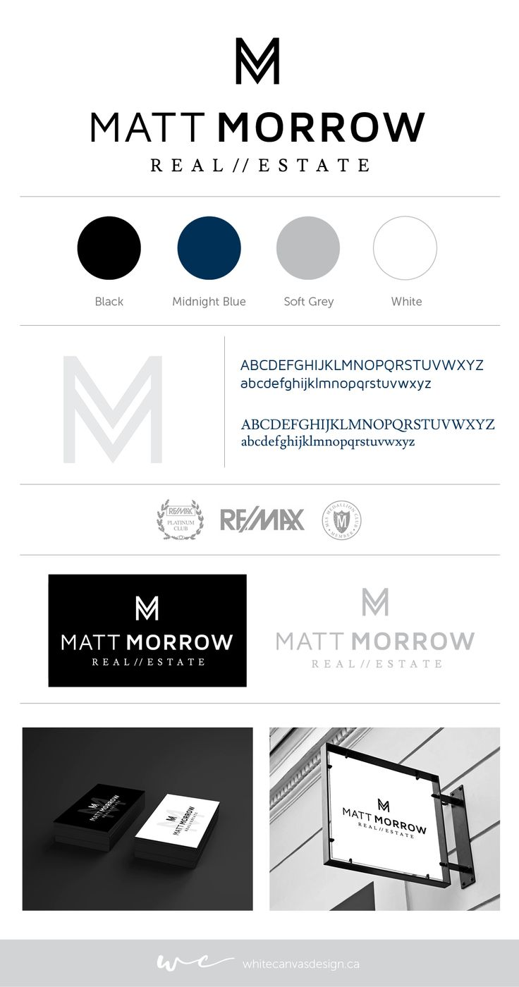 Logo, brand + identity for Matt Morrow Real Estate. Vancouver | Remax | Black & White | Luxury | Realtor | Geometric | Graphic Design