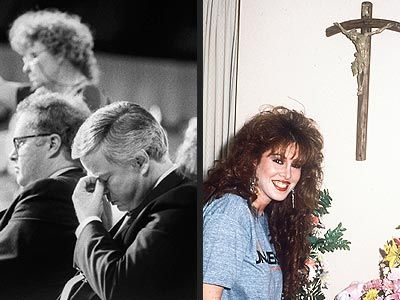 Jim Bakker & Jessica Hahn – After a 1980 hotel-room tryst between televangelist Jim Bakker and then 21-yr-old church secretary Jessica Hahn came to light in 1987, the truth spilled out.  Bakker's wife, Tammy Faye, was addicted to prescription drugs, members of their ministry engaged in wife swapping, and Bakker supported his lavish lifestyle by siphoning millions from his religious empire.  He served five years in a Minnesota prison.