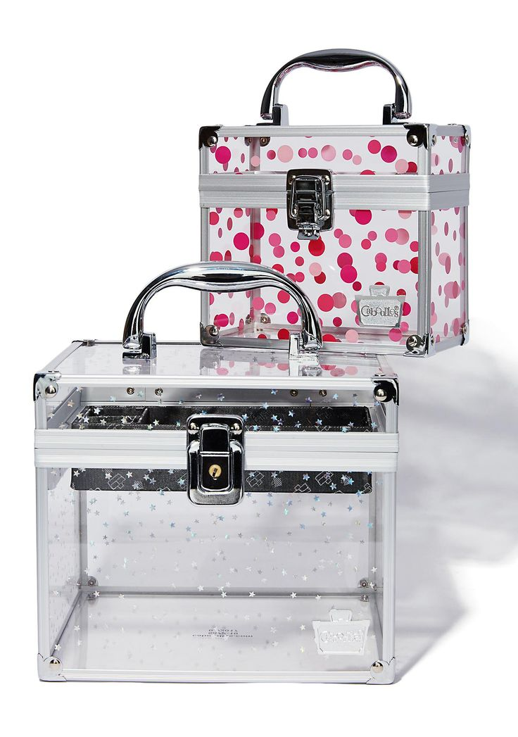 Caboodles Prima Donna Train Case cuz you wouldn't be caught dead without your goodies. This see through train case duo has locking latch closures with keys and comes with a black tray.