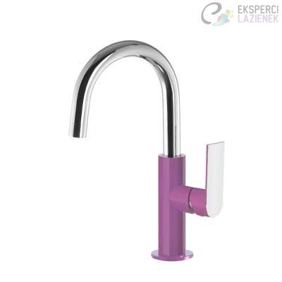 Bateria umywalkowa jednouchwytowa fiolet-chrom Loft Colors Tres 20020504VID