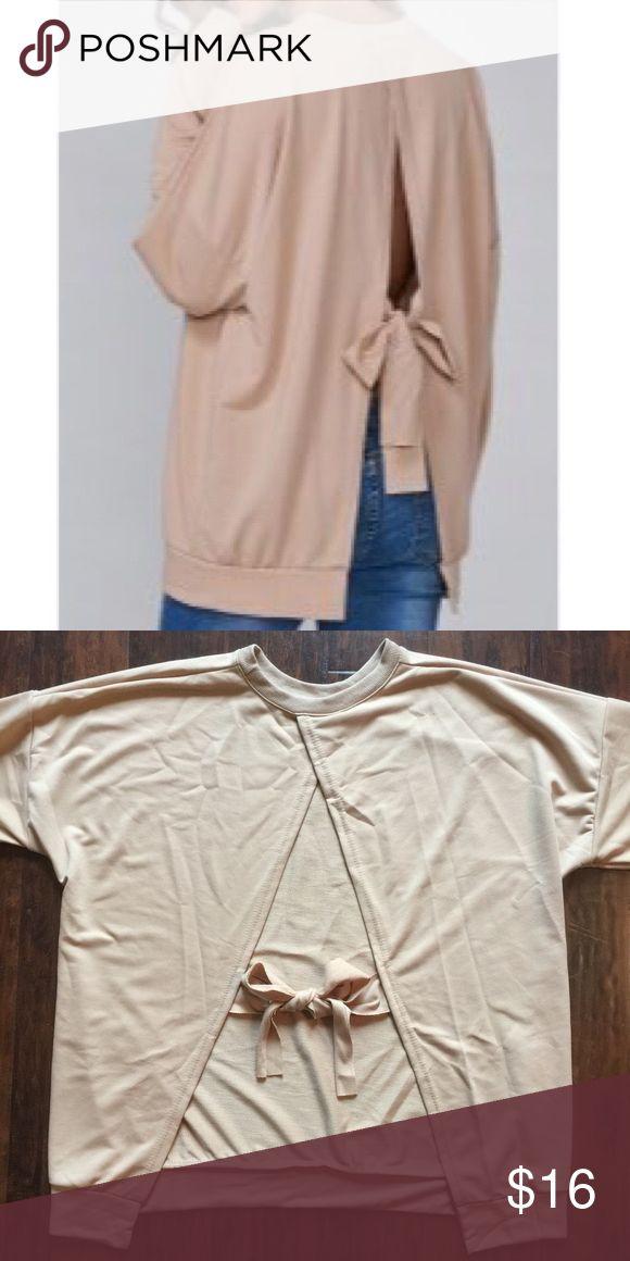 Bowknot Open Back Sweatshirt Cute long sleeve bowknot open back sweatshirt. One size.  Sweaters
