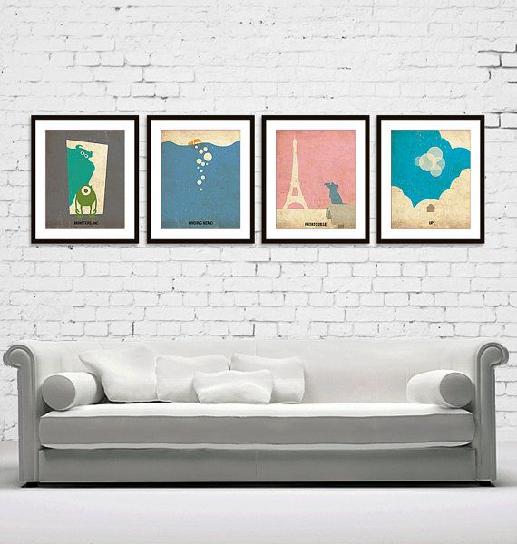 Monsters, Inc Finding Nemo Ratatouille UP Minimalist Poster Print Set of 4 - These would be great in a gender neutral nursery!