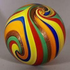 "Wald Glass hand made aventurine Lutz glass Quadra Sphere marble 2.61"" Art Sphere"