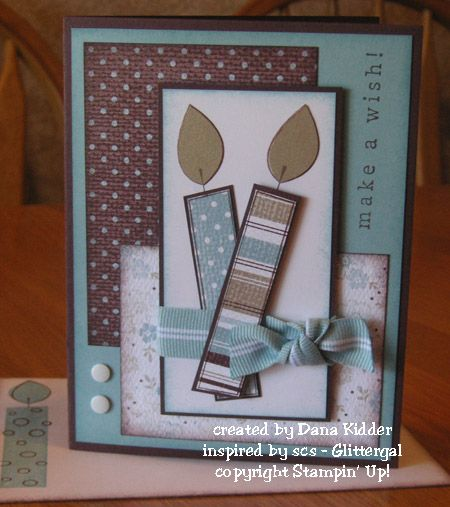 birthday breeze -Stamps: Big Birthday Candle  Paper: Chocolate Chip, Baja Breeze, Whisper White, brushed gold, Parisian Breeze textured d/p  Ink: Chocolate Chip, Baja Breeze  Accessories: Baja Breeze ribbon, white self-stick faux brads