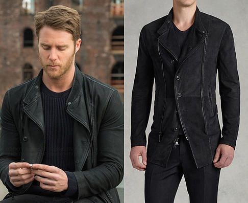 """Brian Finch (Jake McDorman) wears a John Varvatos Asymmetrical Zip and Button Front Jacket in the color Black in Limitless Season 1 Episode 1 """"Pilot."""" #Limitless"""
