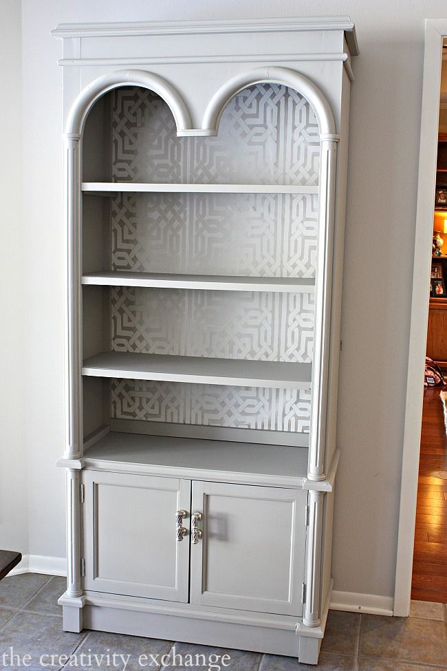 Bookshelf painted with Velvet Finishes.  Tutorial from The Creativity Exchange